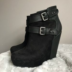 Black Suede Bootie with Leather Buckles
